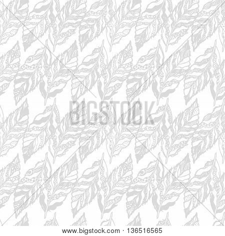Vector gray seamless abstract background with feathers. Can be used for wallpaper, pattern fills, web page, surface textures, textile print, wrapping paper.