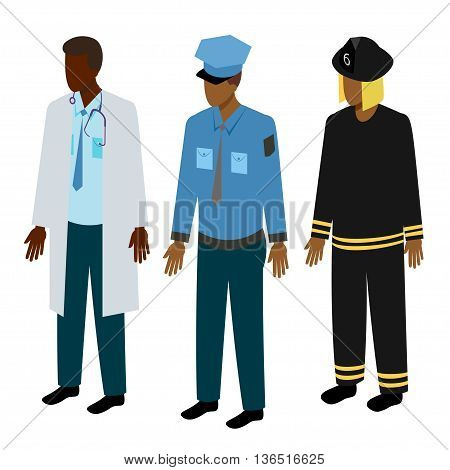 Set of isometric rescuers. Black doctor, fireman and policeman vector illustration