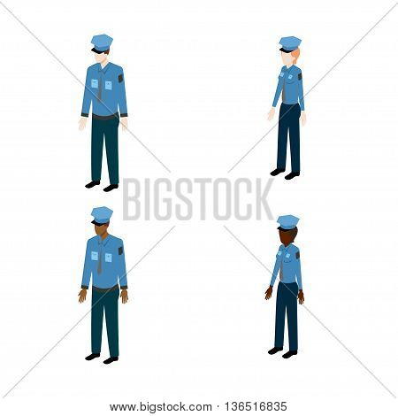 Set of isometric policemen. International policemen and policewoman vector illustration