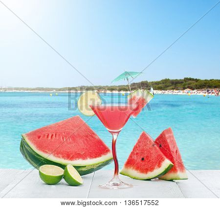 Drink Of Watermelon Juice With Lime Slice