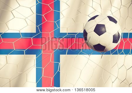 Faroe Islands Flag And Soccer Ball, Football In Goal Net Vintage Color