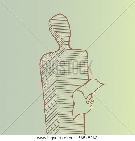 A stabding man reading a paper. Outlines.