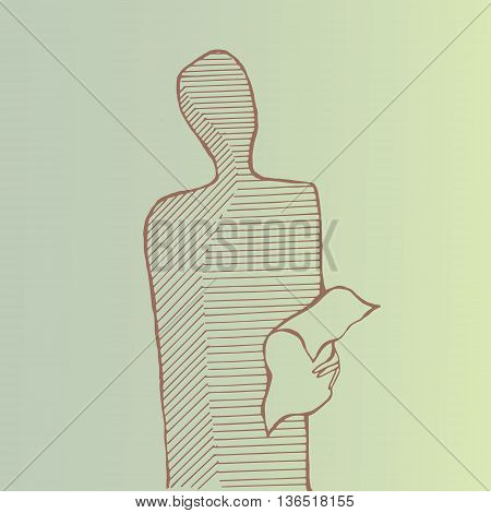 A standing man reading a paper. Outlines.