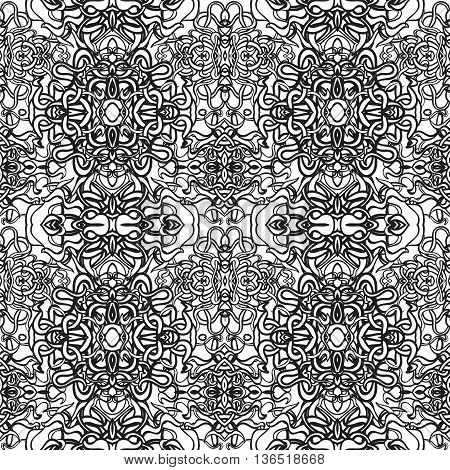 Vector damask seamless pattern element. Classical luxury old fashioned damask ornament, royal victorian seamless texture for wallpapers, textile, wrapping. Coloring book for kids and adults.
