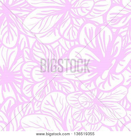 Vector pink seamless abstract background with floral elements. Can be used for wallpaper, pattern fills, web page, surface textures, textile print, wrapping paper.