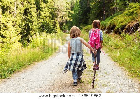 Two cute kids hiking in forest, back view