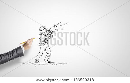 Drawn businessman on white background screaming in megaphone