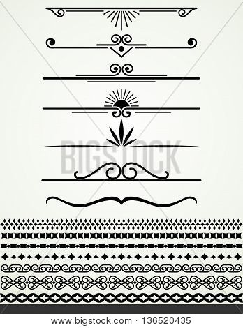 Black and white page or text dividesr and borders, mflat vector design
