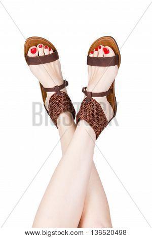 Woman Legs Wearing Of Sandals