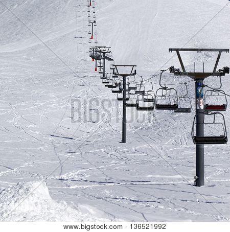 Ropeway And Ski Slope At Nice Day