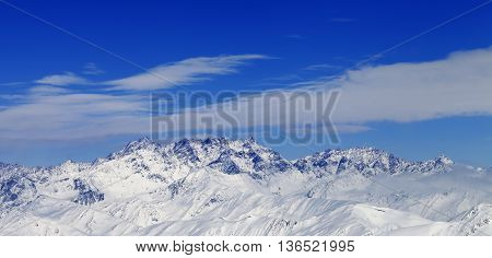 Panoramic View On Winter Mountains In Nice Day