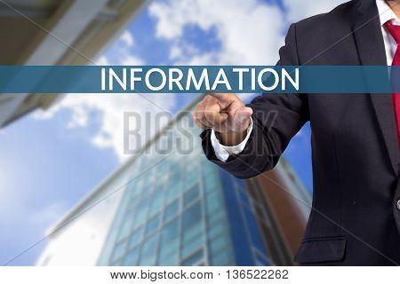 Businessman Hand Touching Information Tab On Virtual Screen
