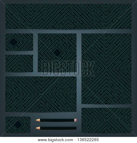 Set of templates for corporate identity with a maze. Templates of business documents with an vector maze. Banner cd cover business cards envelopes letterhead. Vector illustration.