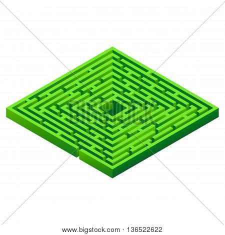 Maze isolated on white background. Isometric 3D maze. Vector illustration.