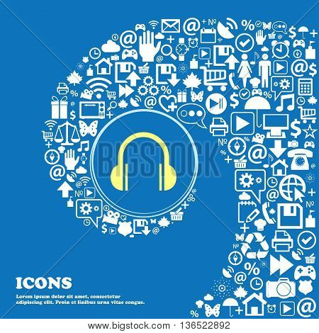 Headphones Icon . Nice Set Of Beautiful Icons Twisted Spiral Into The Center Of One Large Icon. Vect