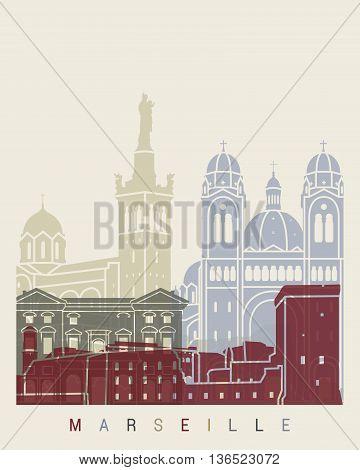 Marseille Skyline Poster