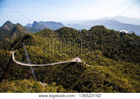 Langkawi, MALAYSIA - January 30 : View of Langkawi Sky Bridge from a higher vantage point on the day of memory of fighters for independence in India on January 30, 2014.