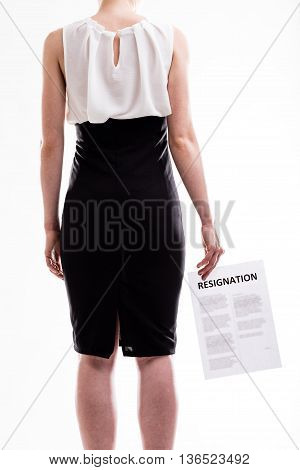 Woman Holding A Resignation Letter