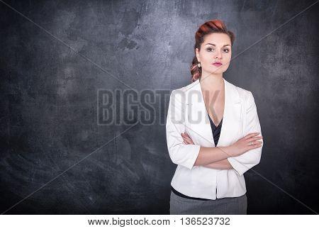 Beautiful Teacher On Chalkboard Blackboard Background