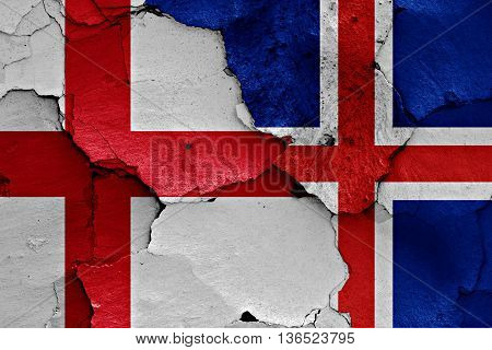 Flags Of England And Iceland Painted On Cracked Wall