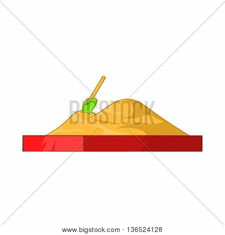Children sandpit icon in cartoon style isolated on white background. Entertainment for children symbol