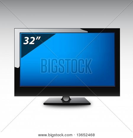 Plasma LCD TV. Vector.