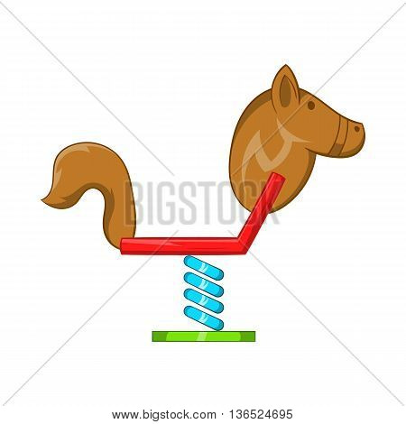 Horse swing icon in cartoon style isolated on white background. Entertainment for children symbol