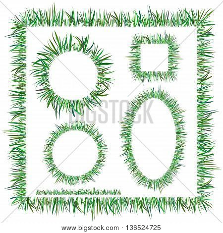 Set of Diggerent Green Grass Frames Isolated on White Background