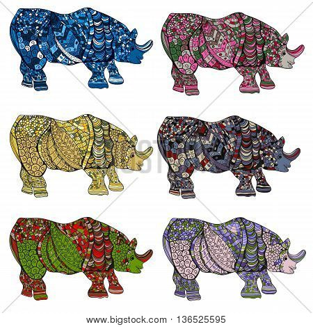 Rhinoceros. Hand-drawn Rhino With Ethnic Floral Doodle Pattern. Coloring Book Page - Zendala, Design