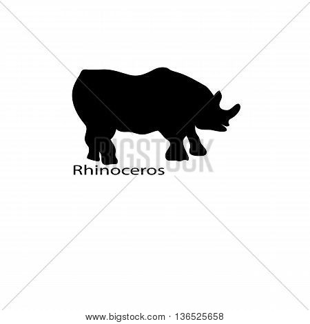 Rhinoceros Icon. Simple Black Vector Symbol. Logo For Web. Image For Business.