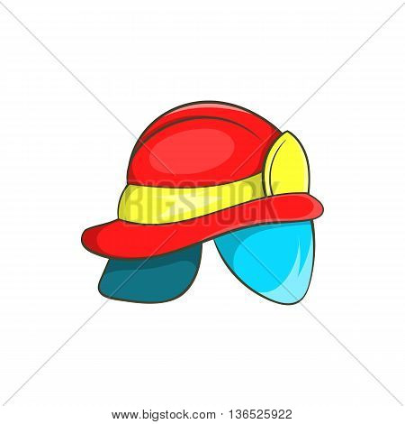 Helmet of firefighter icon in cartoon style isolated on white background. Equipment symbol
