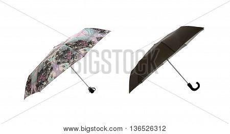 Set of Umbrellas. Side View. Isolated on White Background.