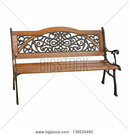 Wooden Garden Bench Isolated on White Background