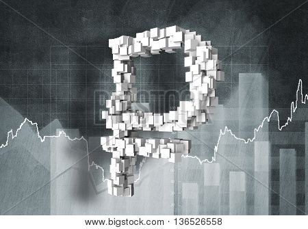 Big rouble currency symbol on graphs and diagrams background