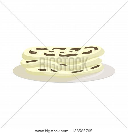 Indian naan icon in cartoon style isolated on white background. Food symbol