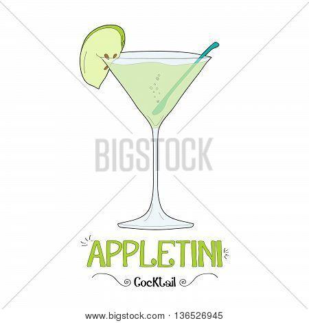 Alcoholic apple cocktail illustration for restaurant business