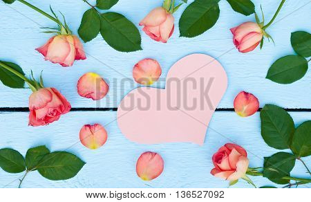 Pink heart and bright roses on blue wood background