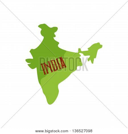 Map of India icon in cartoon style isolated on white background. State symbol