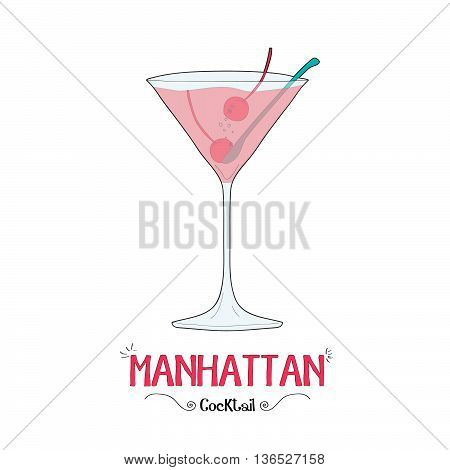 Alcoholic cherry cocktail illustration for restaurant business
