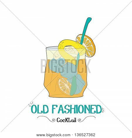 Alcoholic lemon and orange cocktail illustration for restaurant business