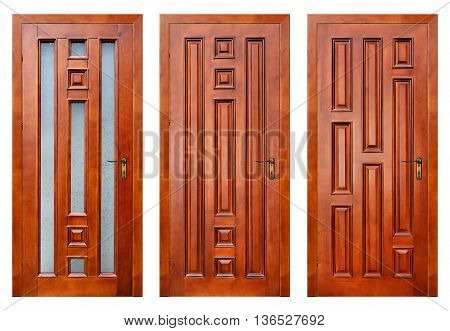 set of closed wooden entrance doors isolated on white with paths