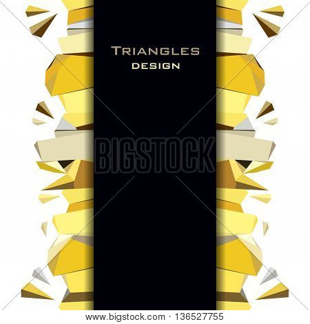 Golden abstract geometric background. Vertical gold border geometric design. Gold and black geometric abstract triangles border design on white background. Golden vector illustration stock vector.