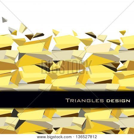 Golden crystal geometric abstract triangles border design with black stripe on white background. Golden abstract geometric background. Horizontal gold border. Golden vector illustration stock vector.