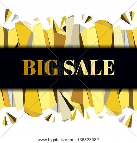 Black gold big sale banner. Horizontal gold border geometric design. Gold and black geometric abstract triangles border design on black background. Golden vector illustration stock vector.
