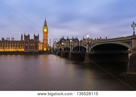 Big Ben and westminster bridge in London at dusk