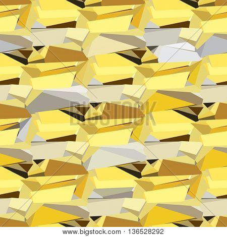 Gold crystal abstract seamless pattern. Abstract gold geometric seamless pattern. Golden geometric abstract triangles border design on black background. Golden vector illustration stock vector.