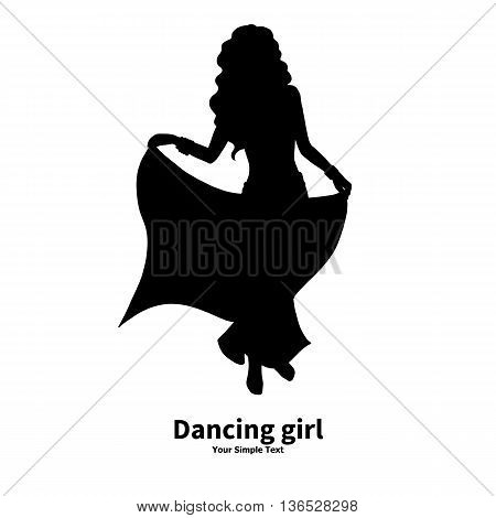 Vector illustration of a silhouette of a dancing girl. Eastern dance. Belly dance and bollywood dancing. Isolated on white background.