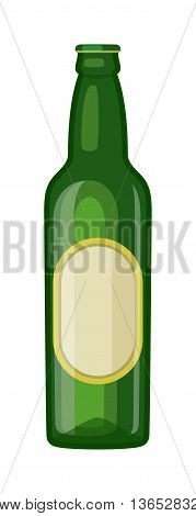 Beer bottle on white background and vector beer bottle. Beer glass bottle beverage liquid cold and pub lager beer bottle. Bottle fresh dark cold beer and glass full delicious beer.