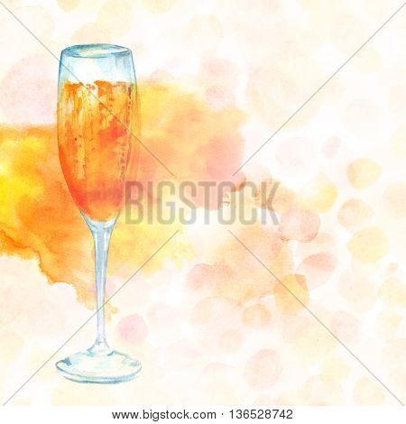A watercolor drawing of a flute glass of sparkling wine with a dotted pastel texture in the background; a greeting card or festive menu design template with copyspace