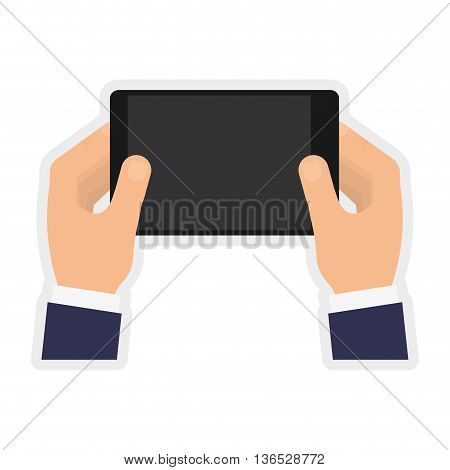 Technology and gadget concept represented by smartphone icon. isolated and flat illustration